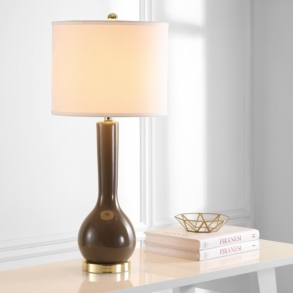 "Safavieh Lighting 31-inch Mae Long Neck Ceramic Taupe Table Lamp (Set of 2) - 14""x14""x30.5"". Opens flyout."
