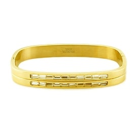 Womens Gold Plated Steel Bangle with Two Rows of Baguette Shaped Cubic Zirconias (8mm Wide)