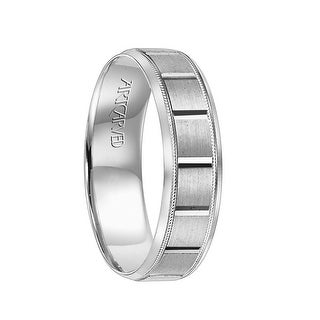 SAMPSON Flat Palladium Wedding Band with Horizontal Grooves & Offset Dual Offset Milgrains by ArtCarved Rings - 6 mm
