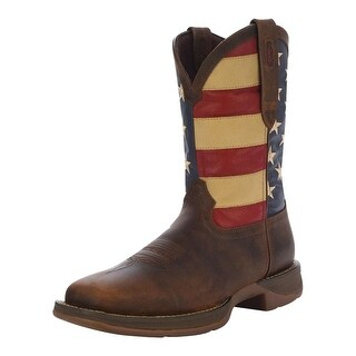 "Durango Western Boots Mens 12"" Rebel Patriotic Pull On Brown"