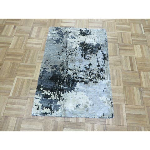 """Hand Knotted Gray Modern with Wool & Silk Oriental Rug (2'1"""" x 3') - 2'1"""" x 3'"""