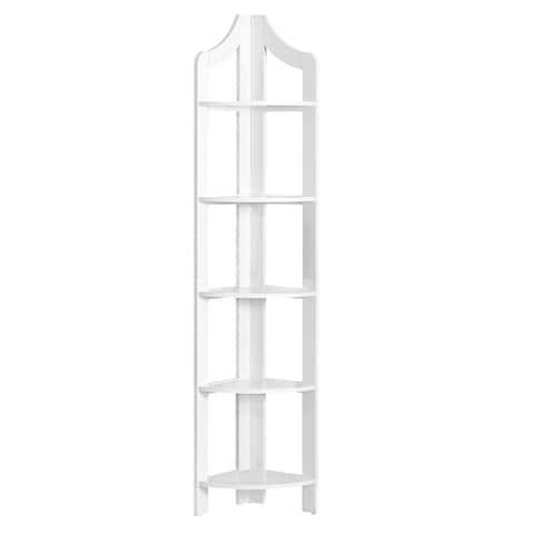 """71"""" White Contemporary 5 Shelves Corner Accent Bookcase"""