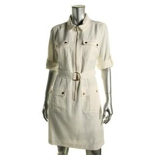 Sharagano Womens Adjustable Sleeves Knee-Length Casual Dress - 10