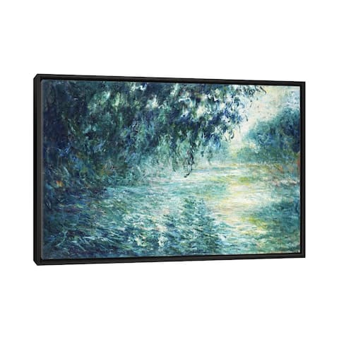 """iCanvas """"Morning on the Seine, near Giverny"""" by Claude Monet Framed Canvas Print"""