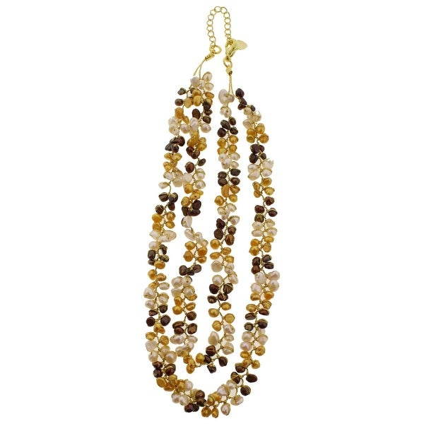 Chuvora Womens Necklace Beaded Thread - Gold Multi