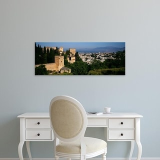 Easy Art Prints Panoramic Image 'Palace with a city in the background, Alhambra, Granada, Andalusia, Spain' Canvas Art
