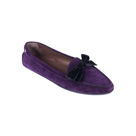 Car Shoe Women's Purple Velvet Bow Suede Pointed Driver Shoes