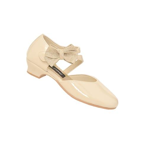 Rachel Shoes Girls Ivory Patent Heel Strap Sparkle Bow Dress Shoes