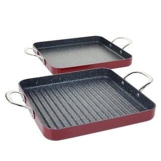 Link to Curtis Stone Dura-Pan Nonstick Square Grill Pan and Griddle Pan Model 672-799 Similar Items in Cookware
