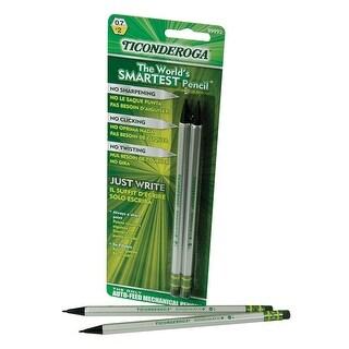 Ticonderoga SenseMatic Pencil, 0.7 mm Lead, Silver/Black Barrel, Pack of 2