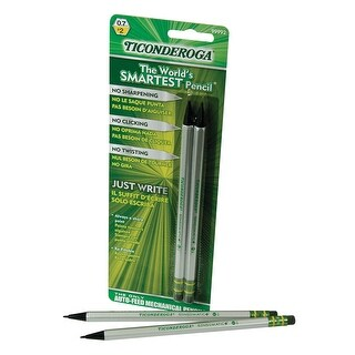 Ticonderoga SenseMatic Pencil, 0.7 mm Lead, Silver/Black Barrel, Pack of 2
