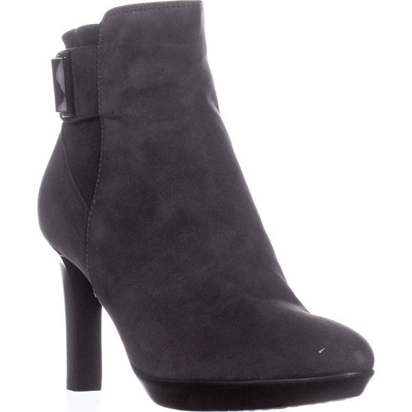 Aquatalia Rochelle Buckle Zip Up Stiletto Ankle Boots, Antracite - 6.5 us