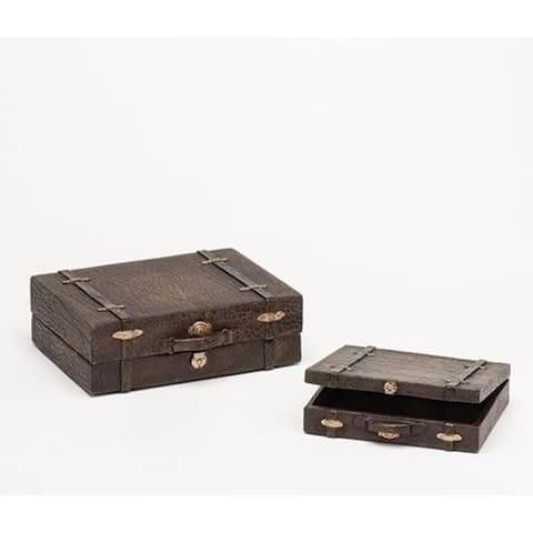 "Brown 2 Piece Set Nesting Luggage 3"" - N/A"