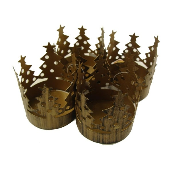 Club Pack of 72 Brass Christmas Tree Pillar Candle Holders - GOLD