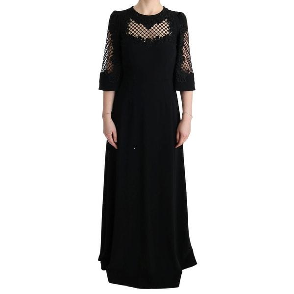 202995e1911 Shop Dolce   Gabbana Black Stretch Shift Long Maxi Dress - it38-xs ...