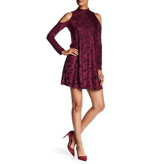 Maggy London Womens Cold-Shoulder Velvet Shift Dress