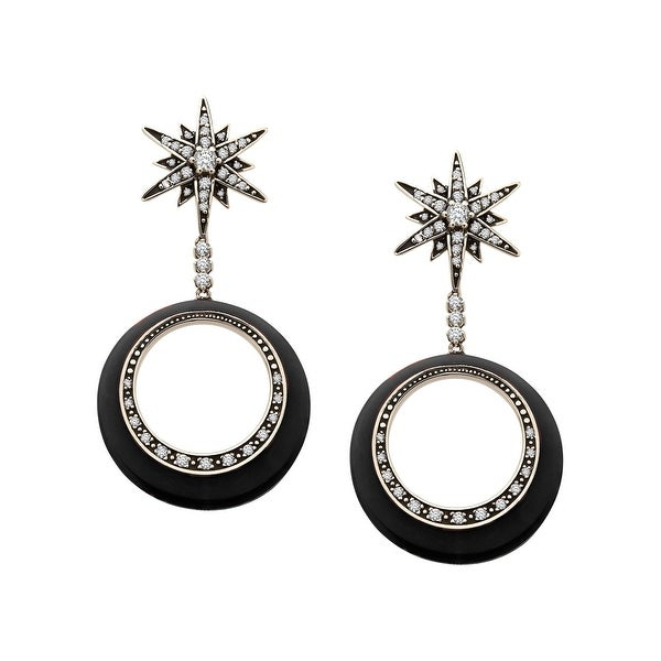 Cristina Sabatini Orbital Star Earrings with Cubic Zirconia in Sterling Silver