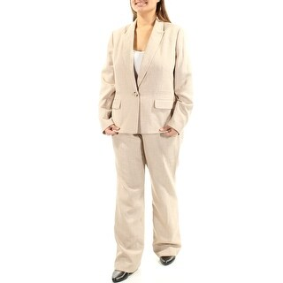 LE SUIT $200 Womens New 1074 Beige Straight leg Suit Pant Suit 16 B+B