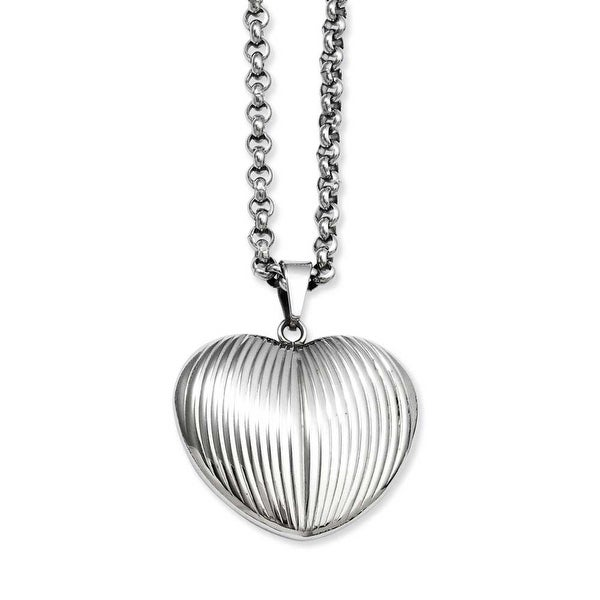 Stainless Steel Puffed Heart Pendant 24in Necklace (3 mm) - 24 in