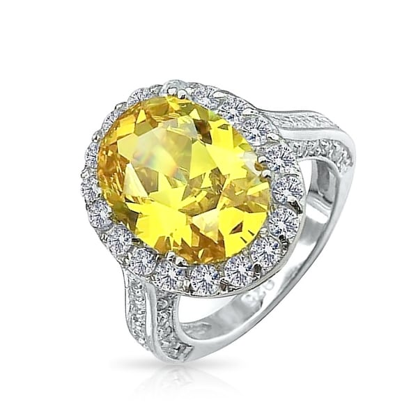 e521521b87a41 6 CT Canary Yellow Oval Solitaire Halo AAA CZ 925 Sterling Silver Statement  Engagement Ring For Women 3 side Pave Band