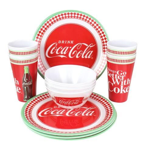 Coca-Cola 12 Piece Melamine Dinnerware Set