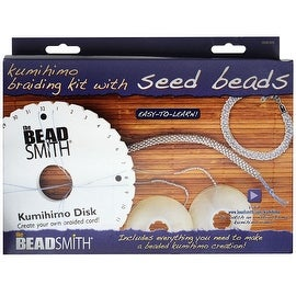 BeadSmith Kumihimo Starter Kit, with Round Disk S-Lon Cord and Beads,