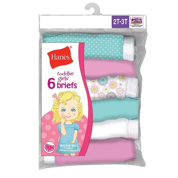d24912a91b3a Shop Hanes TAGLESS® Toddler Girls' Cotton Briefs 6-Pack - Size - 4 - Color  - Assorted - Free Shipping On Orders Over $45 - Overstock - 13874118
