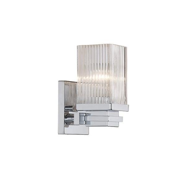 "Millennium Lighting 341 Single Light 7.5"" Tall Bathroom Sconce with Clear Ribbed Glass Shade - Chrome"