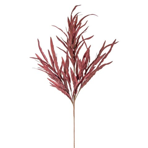 """Set of 12 Red Solid Contemporary Artificial Leaf Spray, 38"""""""
