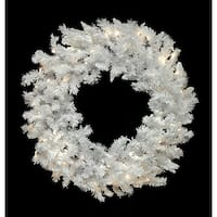 Pre-Lit LED Flocked Spruce Christmas Wreath - 48-inch, Warm Clear Lights