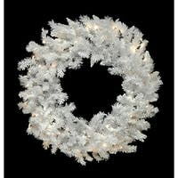 "48"" Pre-Lit LED Flocked White Spruce Christmas Wreath - Warm Clear Lights"