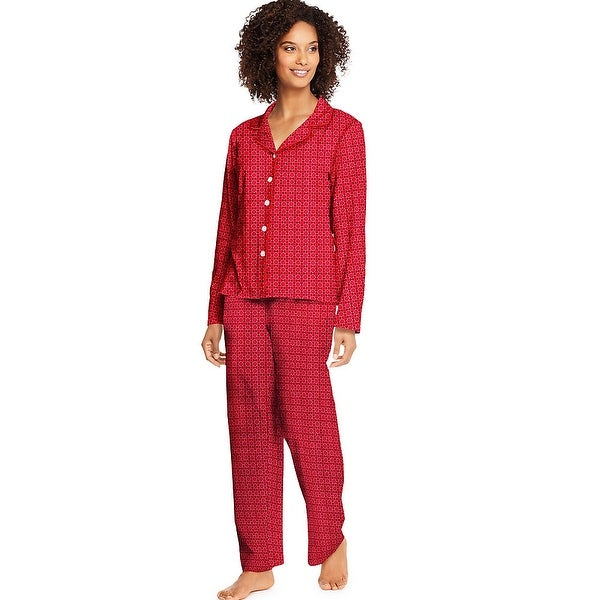 f75754c4a5965 Shop Hanes Women's Knit Notched Collar Top and Pants Sleep Set - Color -  Merry Geo - Size - L - Free Shipping On Orders Over $45 - Overstock -  22706972