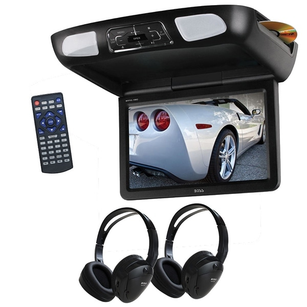 "Boss 10.1"" Overhead Monitor DVD IR/FM Transmitters Headphones"