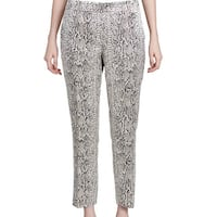 Calvin Klein Brown Metallic Womens Size 12 Snake Print Dress Pants