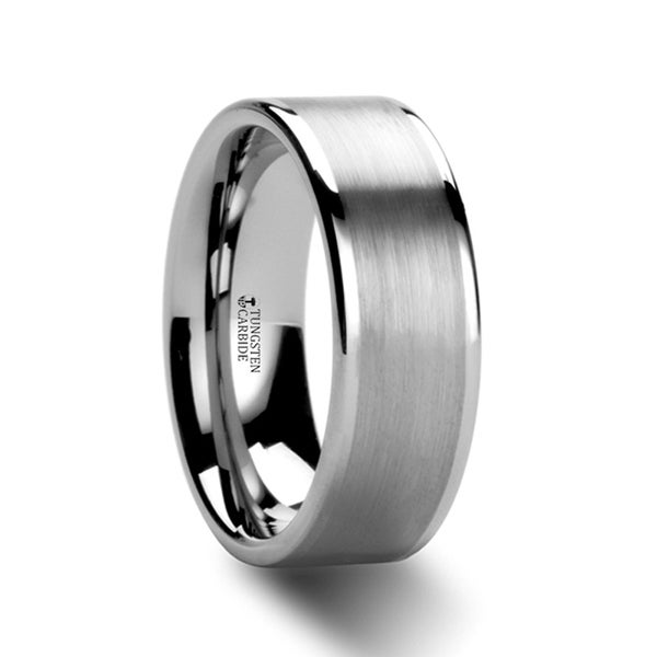 Aires Flat Brush Finish Center Tungsten Carbide Ring