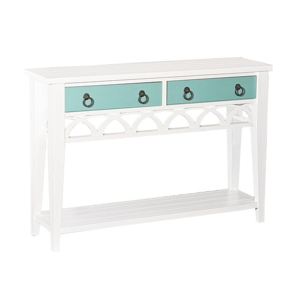 "Powell Home Fashions D1018A16 Elliana 48"" Wide Wood 2 Drawer Console Table with Reversible Colors - White"