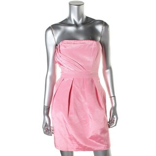Shoshanna Womens Pleated Strapless Cocktail Dress