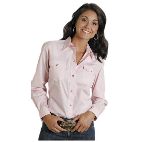 Roper Western Shirt Womens L/S Snap Solid Pink