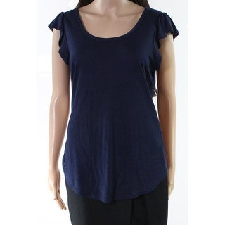 Bobeau Blue Womens Size Small S Ruffle Sleeve Burnout Knit Top