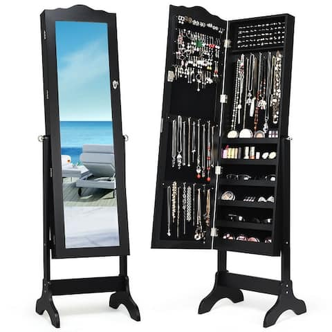 Mirrored Lockable Jewelry Cabinet Armoire Organizer Storage Box
