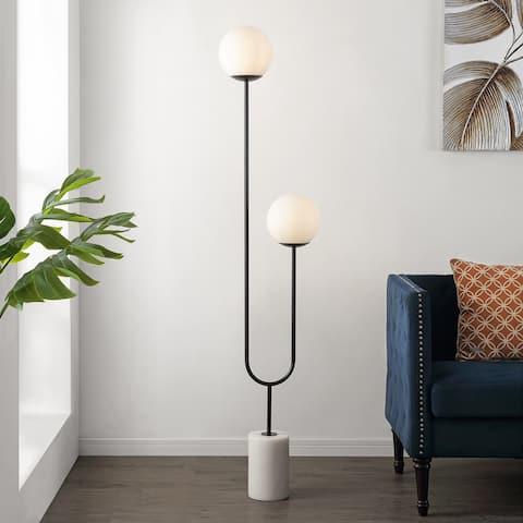 "Safavieh Lighting 68-inch Leif Orb 2-light Iron/ Marble LED Floor Lamp - 15"" W x 7.75"" L x 68"" H"