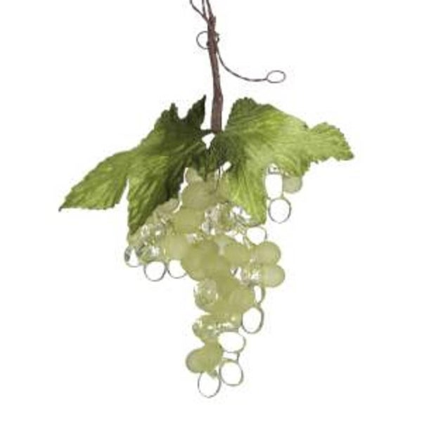 "7"" Tuscan Winery Green and Clear Grape Cluster Christmas Ornament"