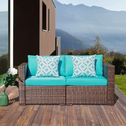 2 Piece Patio Loveseat Wicker Sofa Set Sectional Furniture Set
