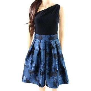 Lauren Ralph Lauren NEW Blue Women's 12 Pleated One Shoulder Tea Dress