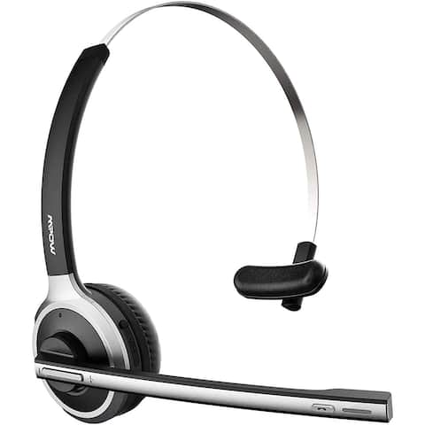 M5 Trucker Bluetooth5.0 Headset with Noise Cancelling Mic, Wireless Headphones for Home Office Call Center Driving, Black