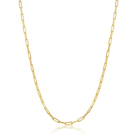 La Preciosa 925 Sterling Silver Italian Gold Plated High Polished 60 Gauge 1.8mm Paper Clip Long Link 16??,18 Chain Necklace