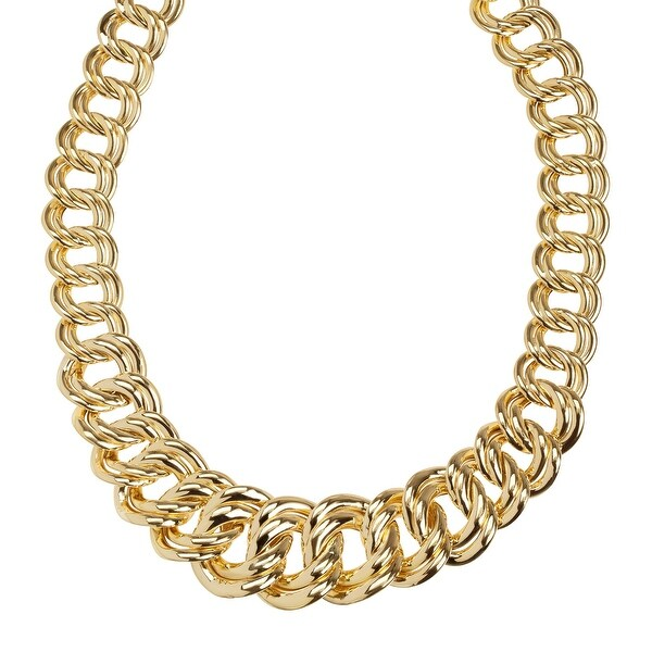 Eternity Gold Graduated Double Link Chain Necklace in 14K Gold