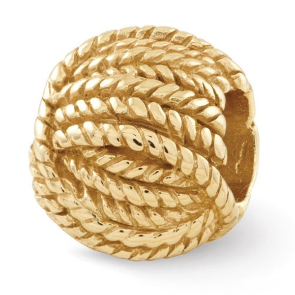 Sterling Silver Reflections Gold-plated Ball of Yarn Bead (4mm Diameter Hole)
