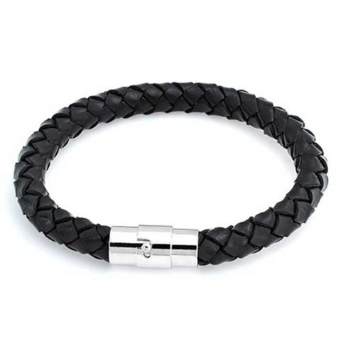 Bling Jewelry Black Braided 8mm Leather Cord Bracelet 8in Stainless Steel