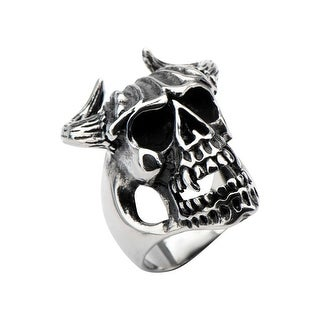 Inox Stainless Steel Black Oxidized Skull with Bull Horns Ring. Available Sizes: 10-13.